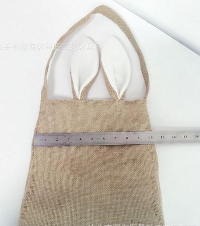 Cute Cotton Linen Canvas Easter Egg Bag Rabbit Bunny Ear Shopping Tote kids children Jute Cloth gift Bags handbag Festive Supplies