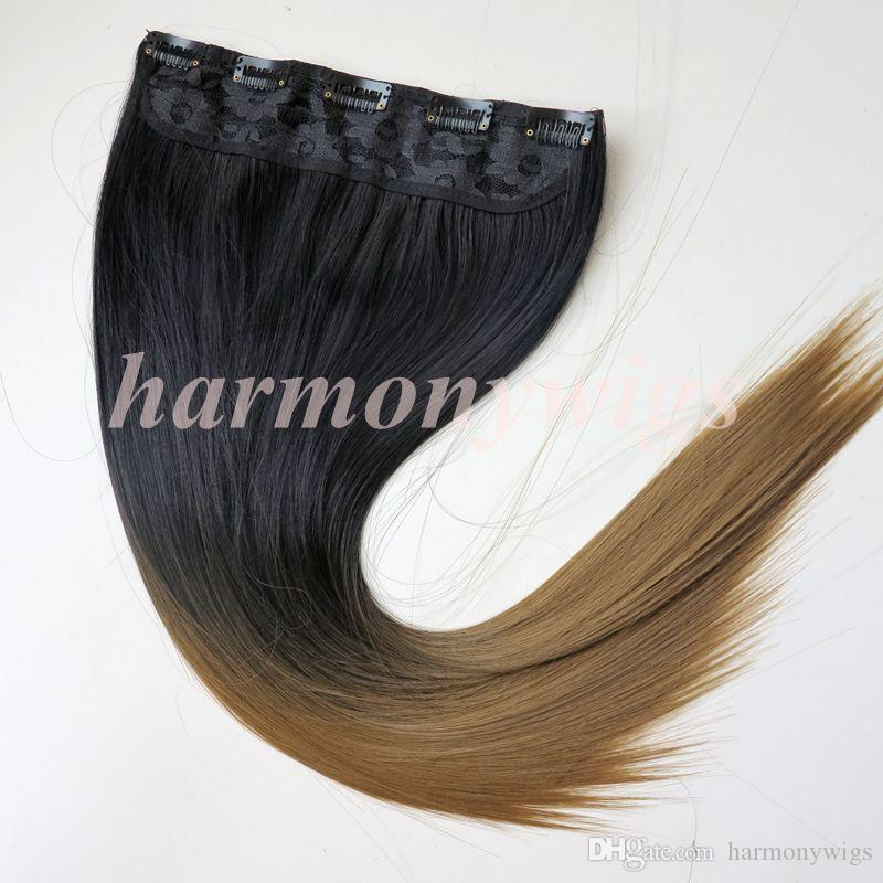 Clip in Ponytail synthetic Straight hair 120g 22inch ombre two colors synthetic hair extensions best selling