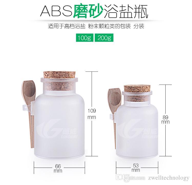 100g 200g Bouteille ABS en sel de bain et bouteille en plastique poudre avec pot en liège avec cuillère en bois livraison gratuite