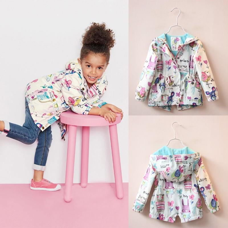 99471e040 2016 New Spring Cute Baby Girl Coat Print Cartoon Graffiti Hooded Zipper  Girl Jacket Full Sleeve Toddler Girl Outerwear
