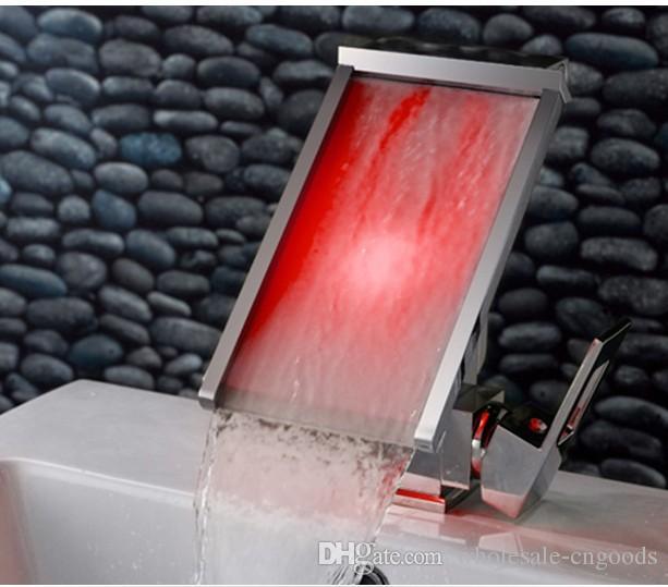 2016 горячая продажа с контролем температуры цвет светодиодные лампы светодиодные водопад кран ванная комната сантехника смешанный кран