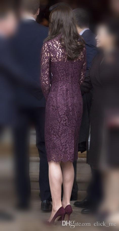 High Neck Lace Mutter der Braut Kleider Illusion Mantel Lange Ärmel Abendkleider Zipper Zurück Knielangen Spitze Prom Kleider