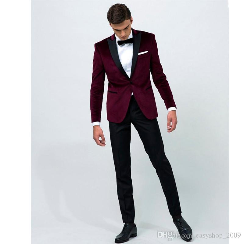 629c3c86079ff5 Pantalon Veste Bordeaux 2018 Personnalisé Acheter Noir Costume Homme RxfSc