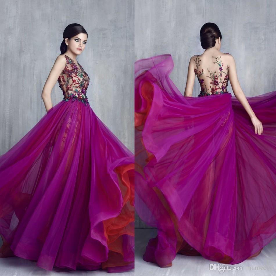 Tony Chaaya 2017 Purple Prom Dresses Luxury Flower Embroidery ...