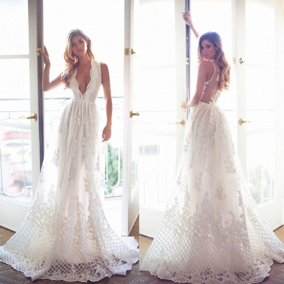Discount 2018 Bohemia Lace Wedding Dresses Deep V Neck Sleeveless A ...