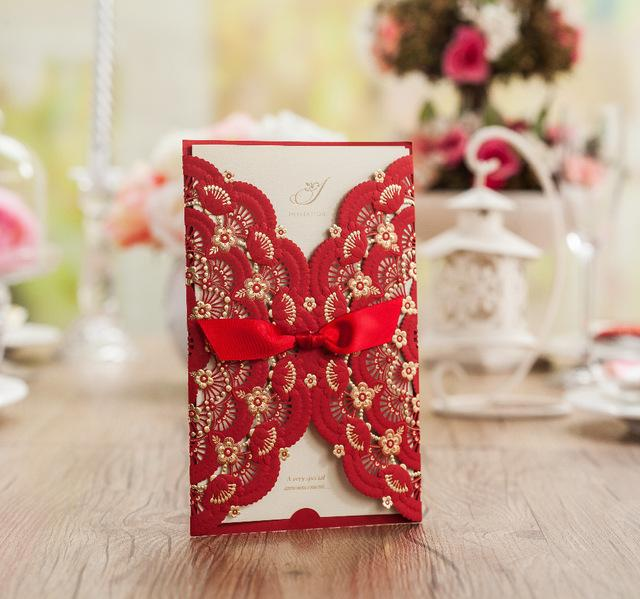 red wedding invitation card, red embossing flowers,gold foil, Wedding invitations