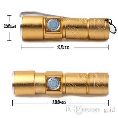 Grid 3 Mode Tactical Flash Light Torch Mini Zoom Rechargeable Powerful USB LED Flashlight AC Lanterna For Outdoor Travel