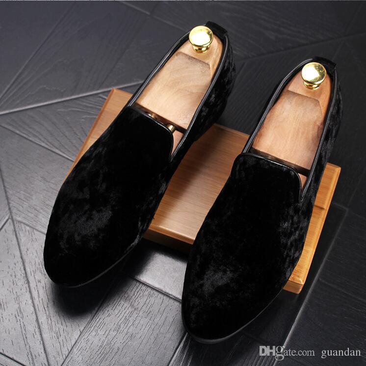 الرجال الأزياء تنفس المتسكعون القيادة الأحذية الأزياء المخملية متعطل الرجال شقة المصمم أحذية جلدية صغيرة أسود أحمر