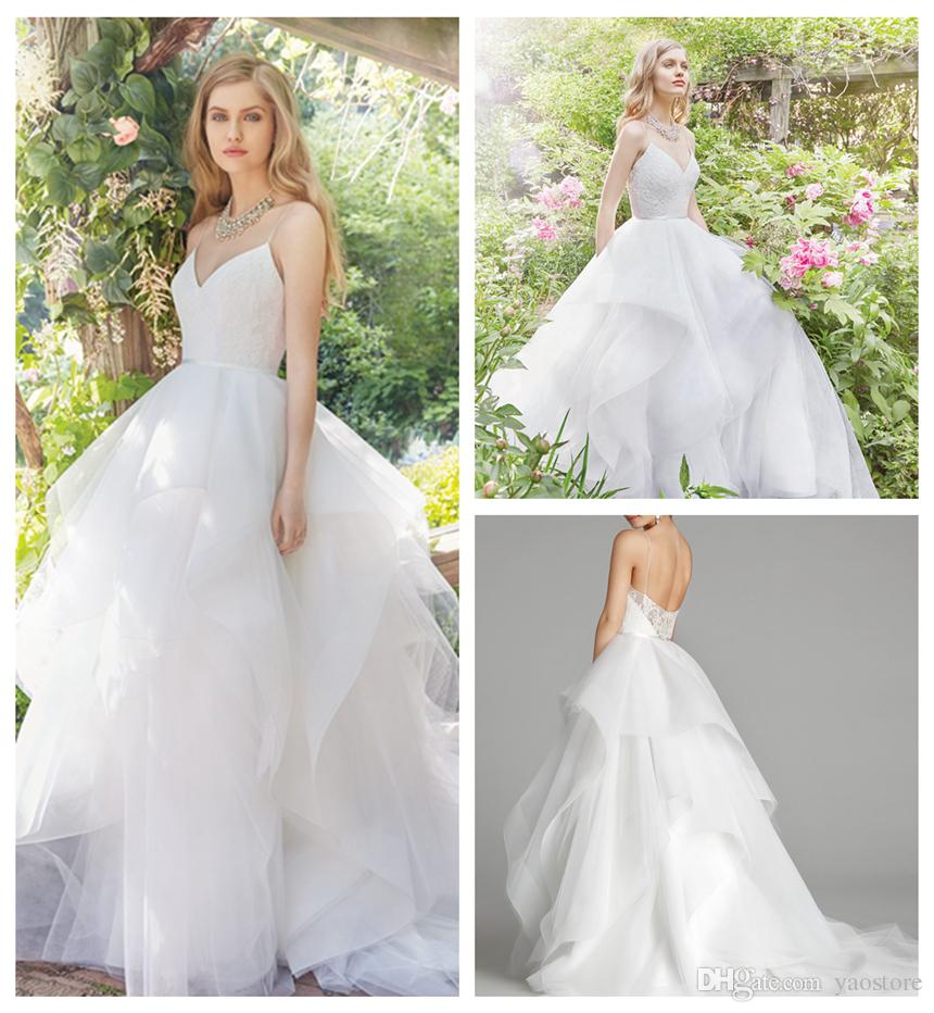 Gergeous White Tulle Ball Gown Wedding Dresses 2016