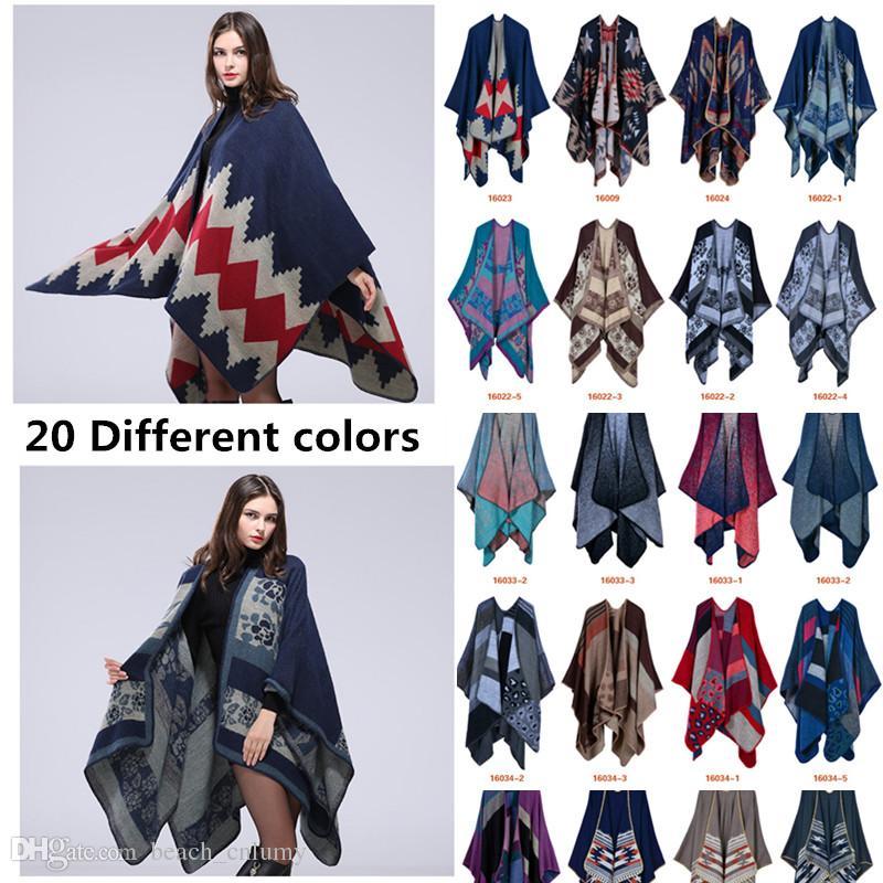 Acheter 20 Styles De Mode Épaissir Foulards Cachemire Sensation Ponchos  Pashmina Femmes Hiver Capes Concepteur Surdimensionné Épais Chaud Tricot  Châle ... a5dac829e60