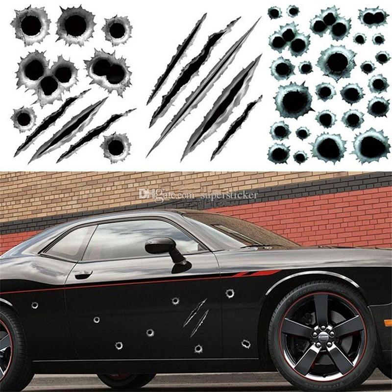 3D Bullet Hole Car Stickers Scratch Decal Waterproof Motorcycle Stickers 21X30cm