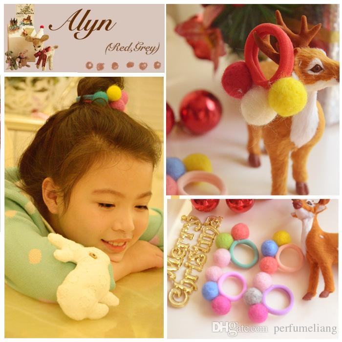 La Corée importe tout fait main laine feutre boule de cheveux anneau de cheveux corde de cheveux en gros accessoires pour femmes filles enfants Livraison gratuite ZA0079