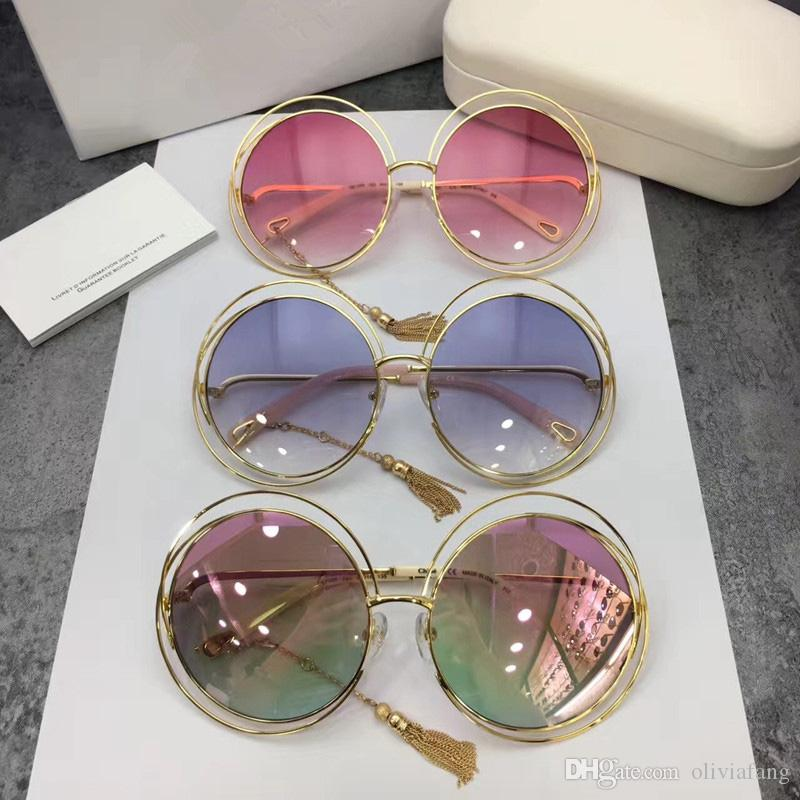 9bb9fd436b CE 136S Sunglasses Luxury Brand Designer Golden Metal Frame Women Sunglass  Tassel Vintage Round Sunglass Female Chic Luxurious Come With Box Sunglasses  Hut ...