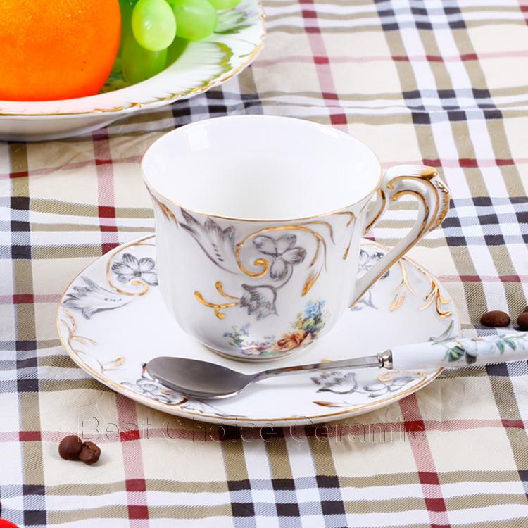 Porcelain tea cup and saucer bone china flowers design embossed handpainted outline in gold coffee cup set tea cup saucer