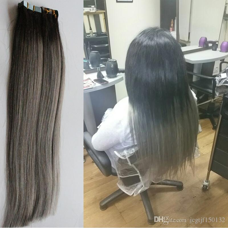 7a Grey Tape Hair 100g Ombre Human Hair Ombre Tape In Human Hair Extensions 1b/Silver Grey Tape Extension Two Tone