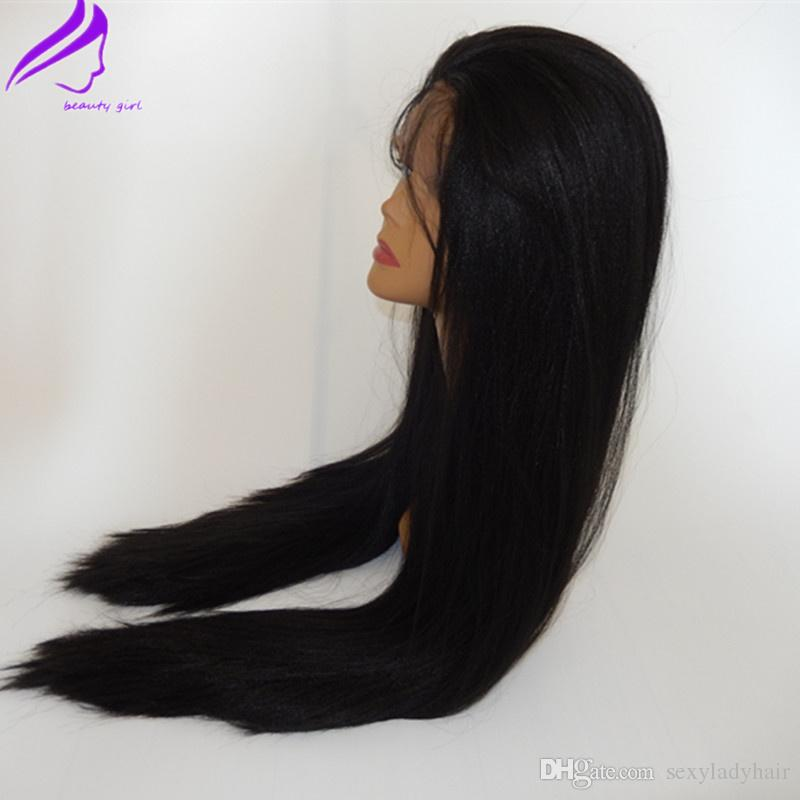 High quality cheap glueless synthetic lace front wig #1b yaki straight heat resistant hair wig synthetic African American wigs for sale