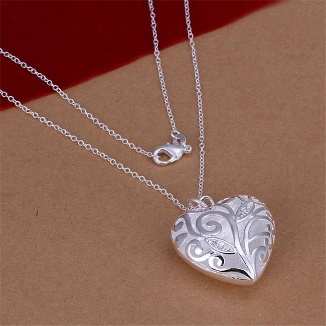 NOUVEAU NOUVEAU Collier de pendentif en forme de coeur tridimensionnel en forme de coeur blanc Gemstone Sterling Collier STSN224, Collier en argent de mode 925
