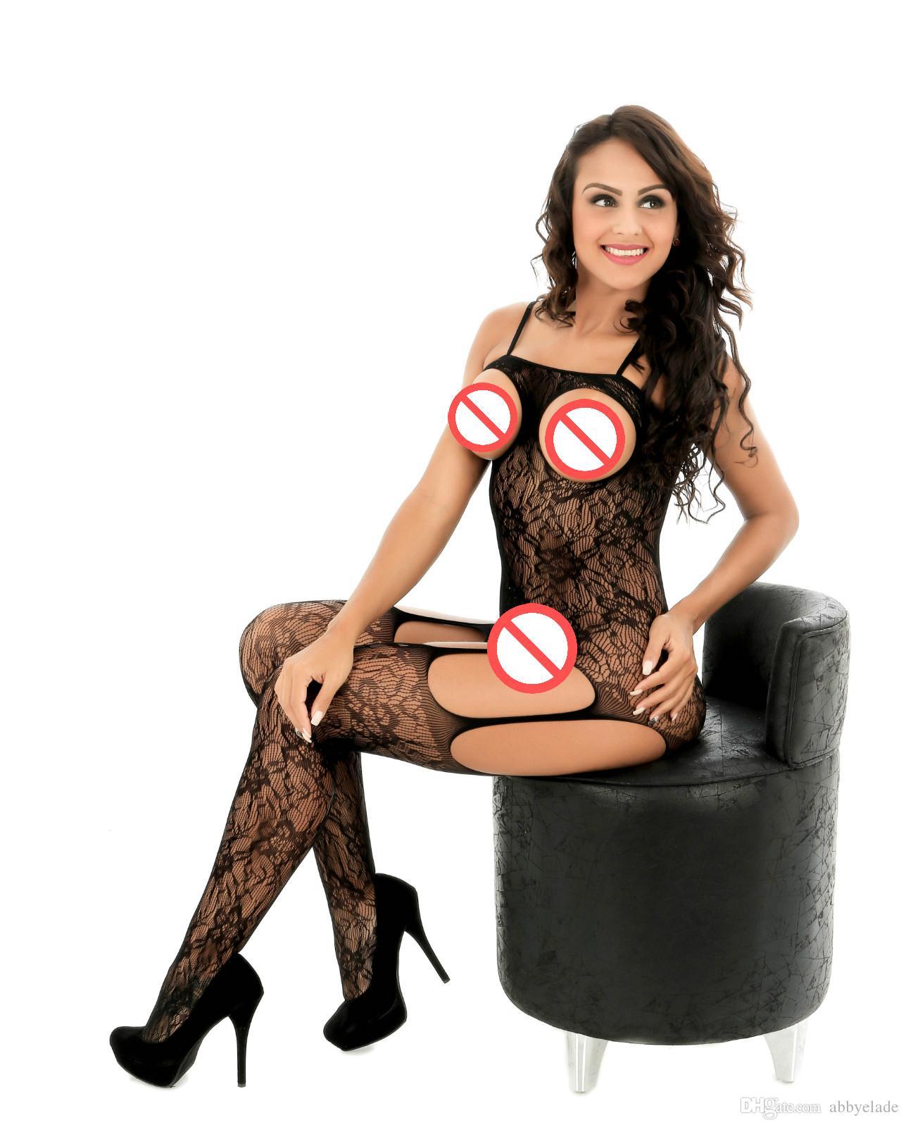 2020 один кусок открыт бюст цветочных кружев зрелого BODYSTOCKING Женщин Sexy Lady колготки Открыть промежности Babydoll Lingerie Black Hot
