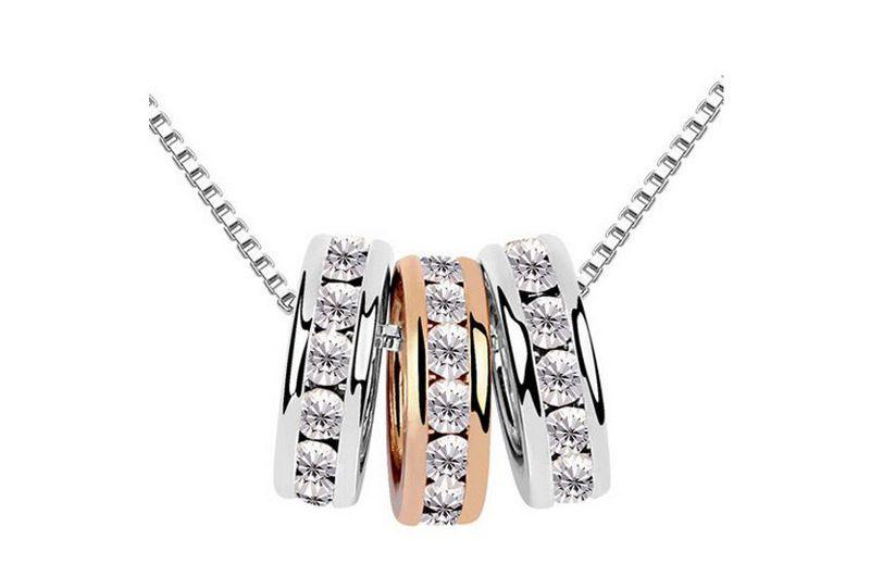 Мода Кристалл три кольца ожерелье ювелирные изделия высокого качества посеребренные круглый кулон ожерелья для женщин G021