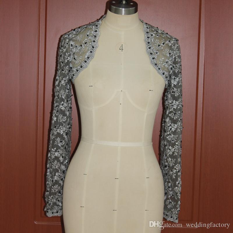 detailed look 8c8a3 57a98 Coprispalle da donna in pizzo da sposa festa di perline perline d argento  pizzo maniche lunghe bolero giacche da sposa immagine reale alta
