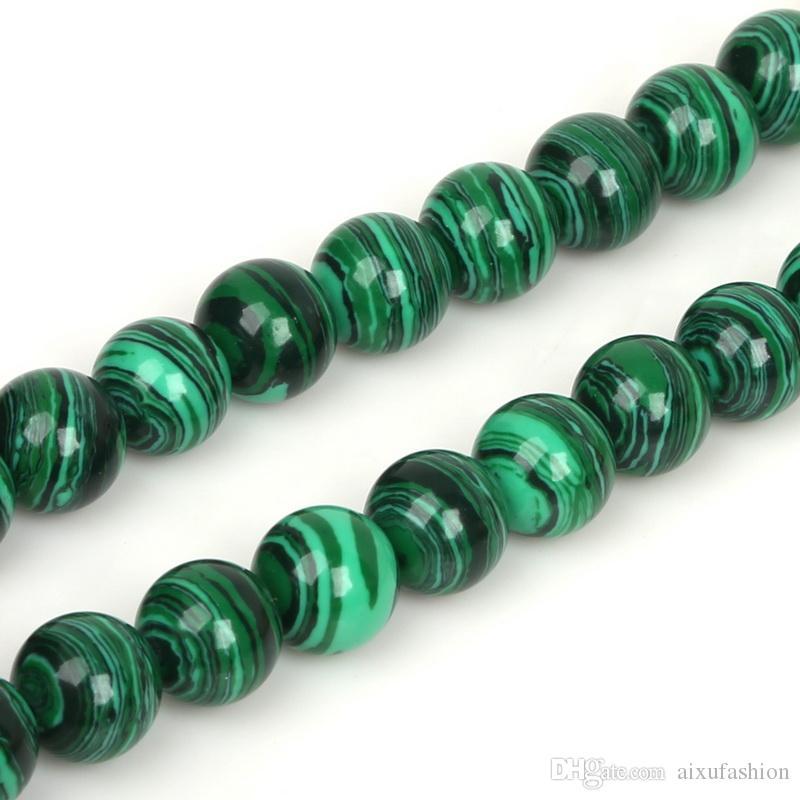 Granos sueltos redondos verdes de la piedra de Malachite 4 6 8 10 12 14m m para la pulsera de la joyería Collar que hace la cuenta de DIY