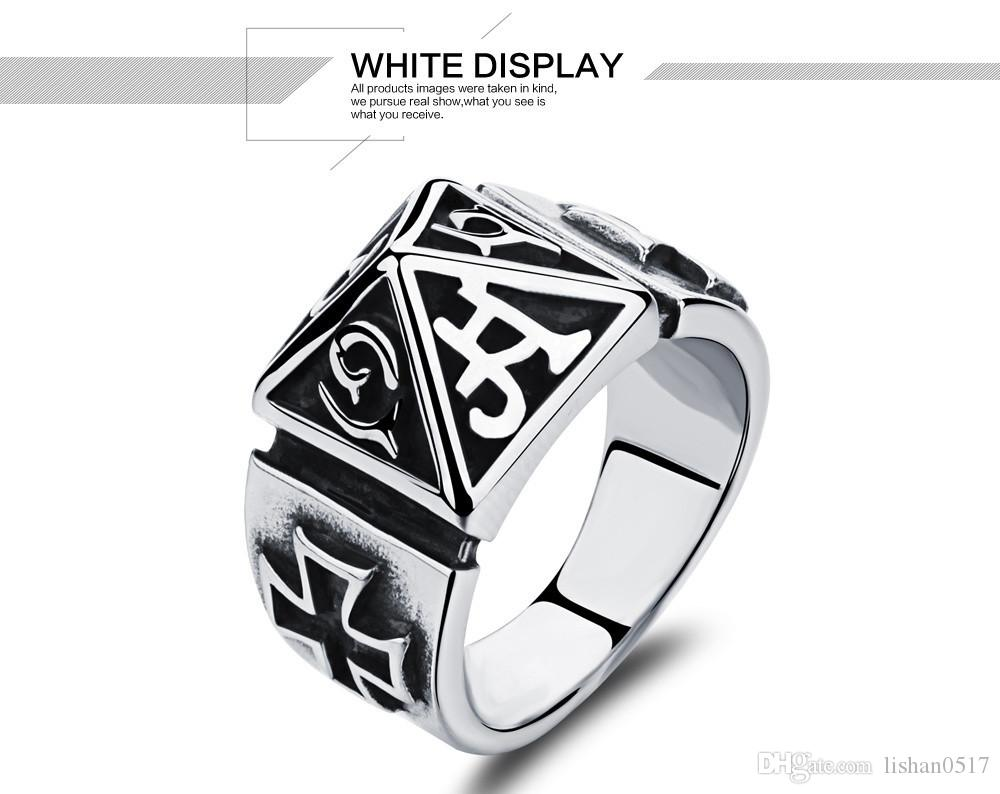 Fashion jewelry big rings stainless steel wide rings punk black ring for men vintage big ring wholesale GJ468