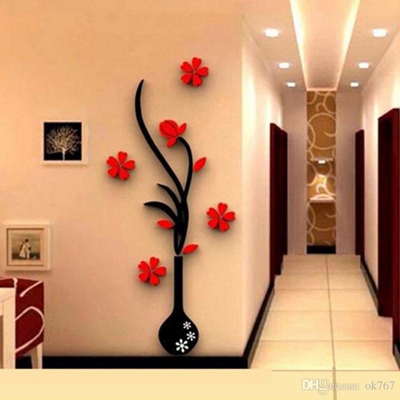 Großhandel Wandaufkleber Acryl 3D Pflaume Blumenvase Aufkleber Vinyl Kunst DIY Wohnkultur Wandtattoo Rote Blumen Wandaufkleber Farben