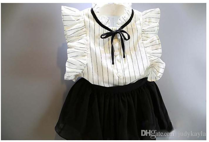 Chicas lindas Juegos de ropa de verano 2018 Nuevos niños a rayas chaleco sin mangas + Faldas cortas negras Trajes para niños Trajes de niña /