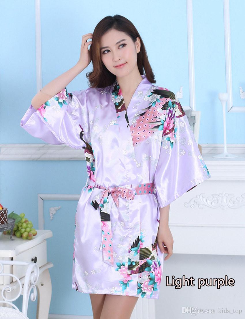 Ipek Saten Düğün Gelin Nedime Robe Çiçek Bornoz Kısa Kimono Robe Gece Robe Banyo Robe Moda Sabahlık Kadınlar Için ÜCRETSIZ