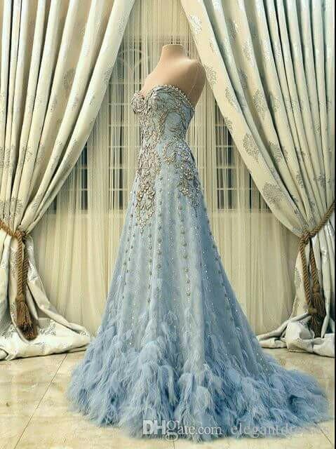 2021 elegante imagen real una línea vestido largo azul vestidos de noche con cuentas vestidos de baile de alta calidad