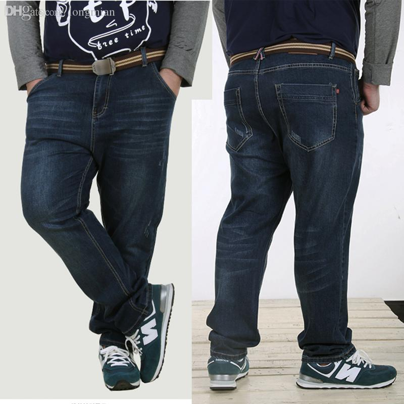ff876448585b9 2019 Wholesale 2016 New Arrived Large Size Mens Jeans Denim Pants Washed  Blue Male Jeans For Fat Person Fashion Plus Size 36 48 From Longmian