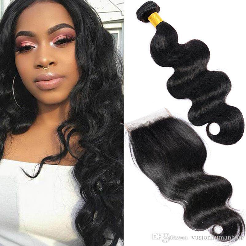 3 Bundles Body Wave Hair Weaves With Closure Real Human Hair