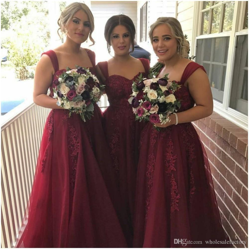 Burgundy a line bridesmaid dresses sweetheart long bridesmaid burgundy a line bridesmaid dresses sweetheart long bridesmaid gowns for young girls with lace appliques wedding guest dresses hot sale 2017 junior ombrellifo Gallery