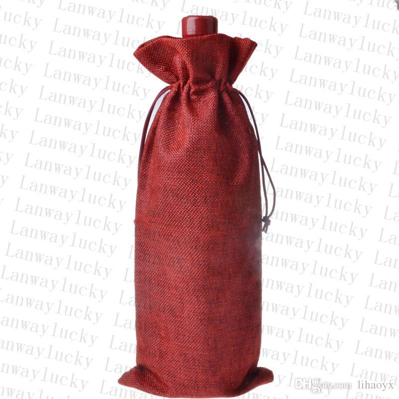 جوت زجاجة النبيذ يغطي الشمبانيا النبيذ الأعمى التعبئة والتغليف هدية أكياس ريفي هسي عيد الميلاد عشاء الجدول الديكور 16x36 سنتيمتر to90