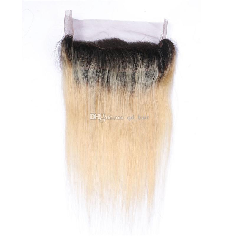 360 Banda de Renda Frontal Com Feixes de Cabelo Raiz Escura Em Linha Reta Cabelo Humano Bundlles Bundlles # 1B / 613 Com 360 Completa Lace Frontal 13x4x2