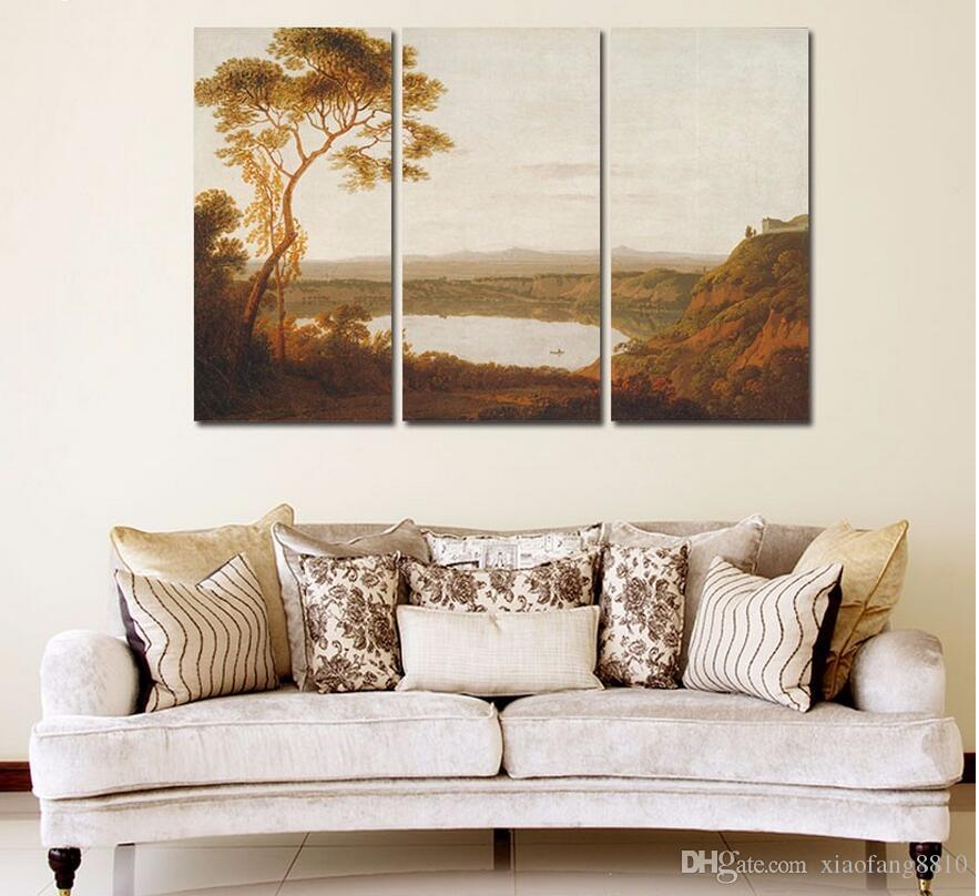 Retro brown lake Mountain Landscape picture decoration tree Canvas Painting wall Art for living room oil print unframed
