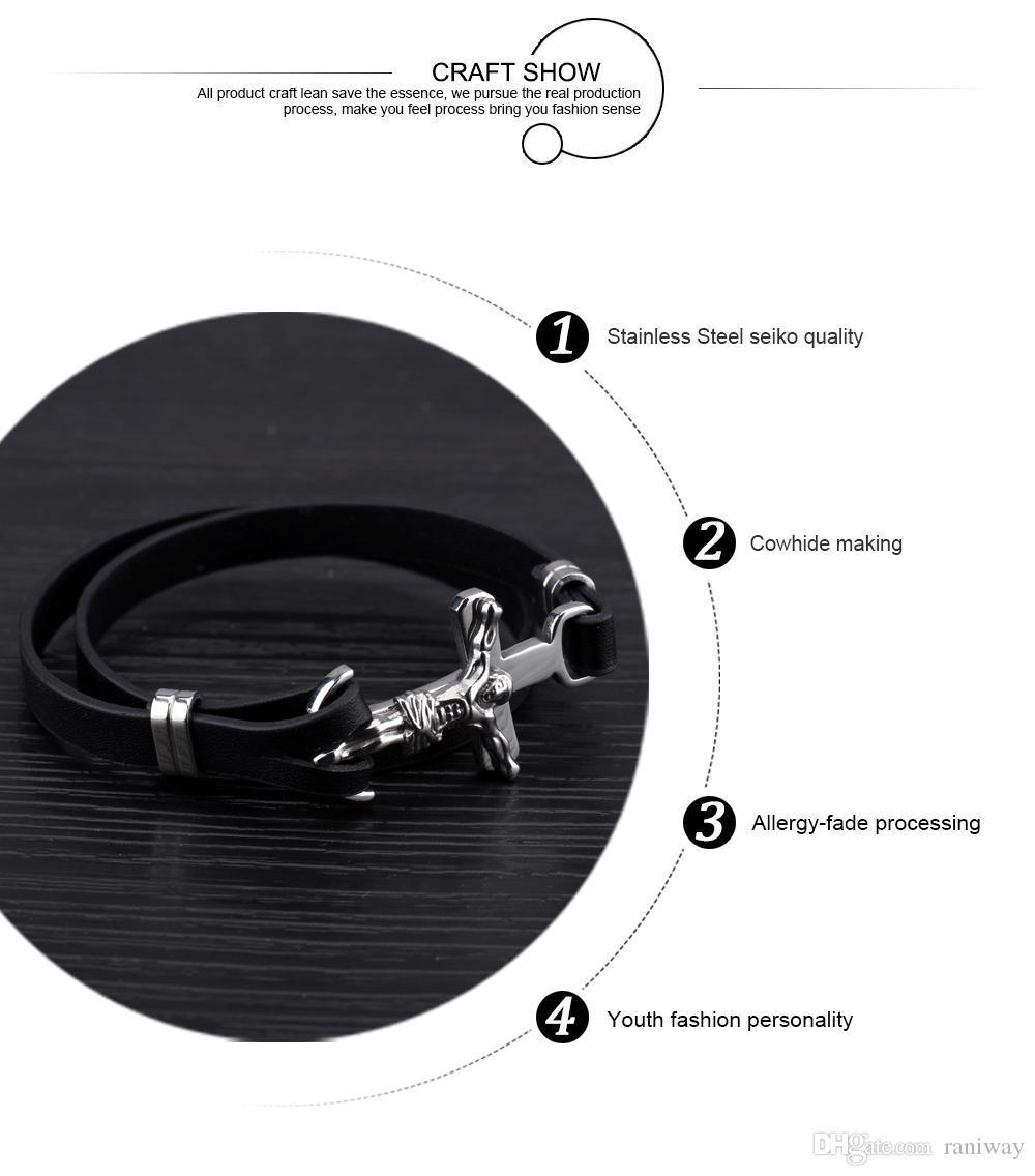 Fashion Men's Double Layer Leather Bracelet Stainless Steel Crucifix Cross Jesus Surfer Sport Bracelet for Men, 7.87 inch
