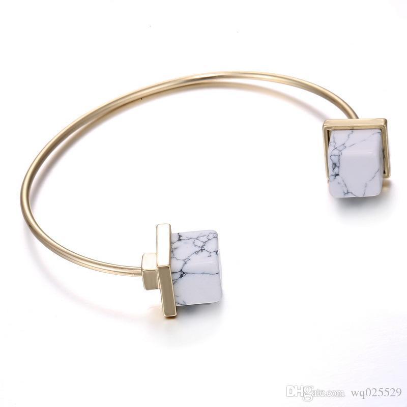 heißes Verkauf Geometrisches einfaches und Art und Weisearmband des freien Verschiffens eingelegtes mit weißem Türkis oder Türkis, justierbares Armband der Völkerart-Dame