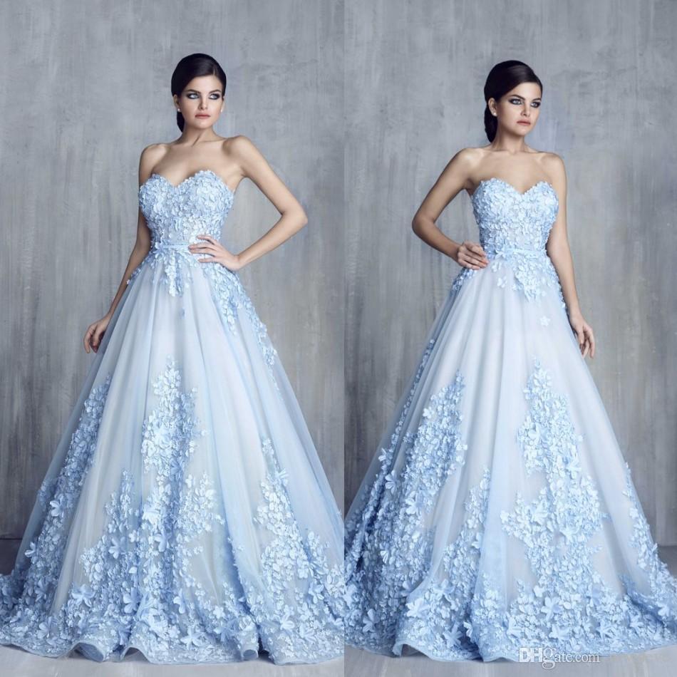 Sweetheart Neck Evening Dresses Sleeveless Lace Applique Tony Chaaya ...