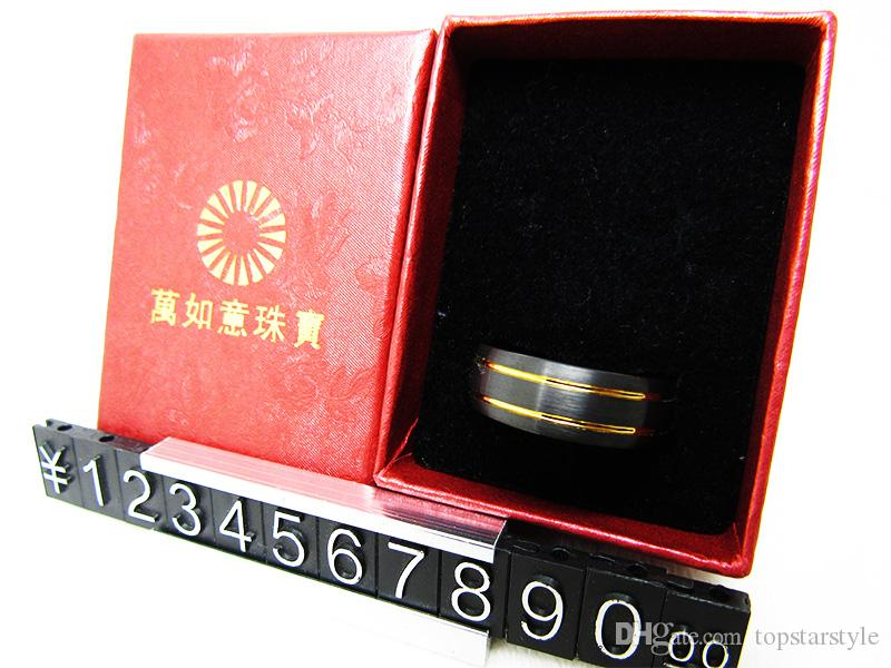 8mm Black and Yellow Gold Tungsten Wedding Bands High Polish and Brush Domed Top 903