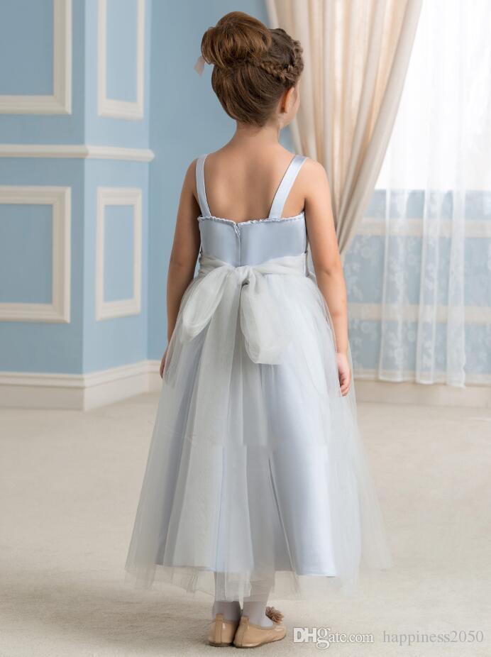 Schöner Silber-Bügel Tulle Tee-Länge Blumen-Mädchen-Kleid-Mädchen-Rock-Prinzessin Rock-Festzug-Kleid Benutzerdefinierte Größe 2-14 HF703026