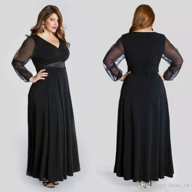 Black Chiffon Plus Size Prom Dresses Long With Illusion Sleeves 2017 ...