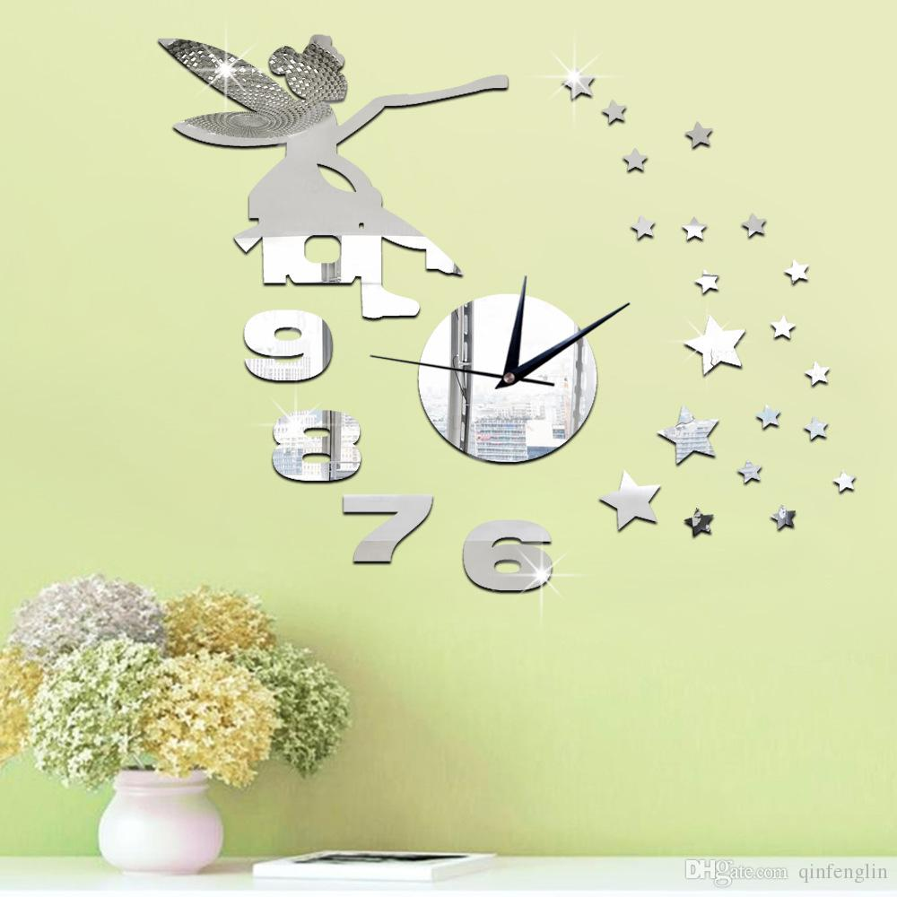 2016 3d Home Decoration Watch Wall Stickers Diy Mirror Wall Clock ...