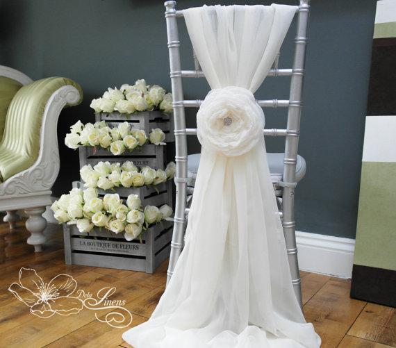 Custom Made 2016 Feminine Ivory Chiffon Chair Covers 3D Flower Crystal Chair Sashes Romantic Wedding Decorations Wedding Supplies