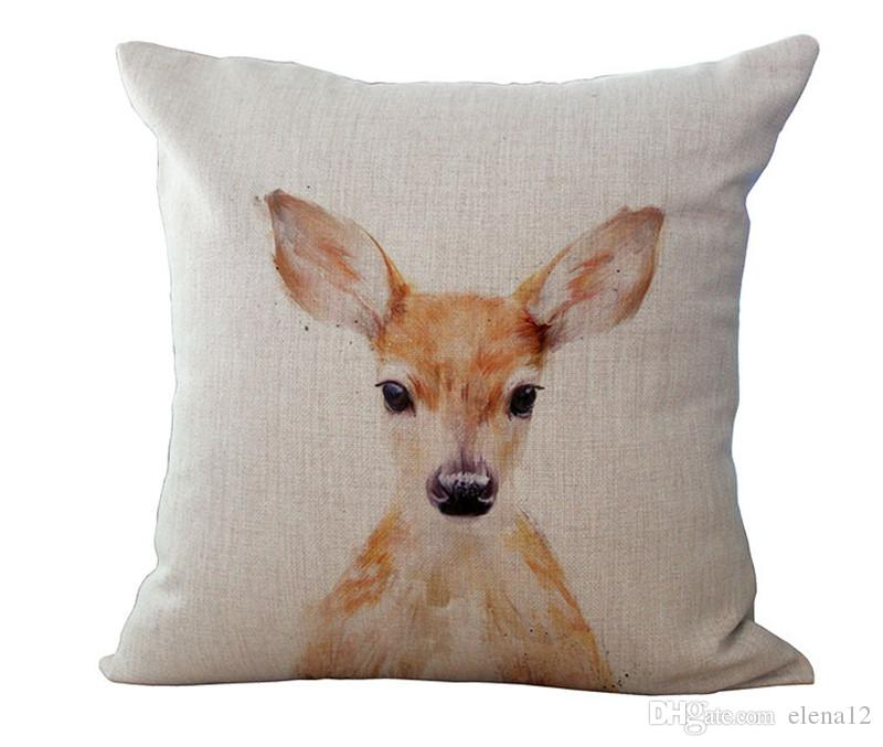 Funda de almohada simple moderna Patrón de alces de animales salvajes Hunt Club Silla de lino de algodón Funda de almohada de cintura cuadrada Textil para el hogar 240485