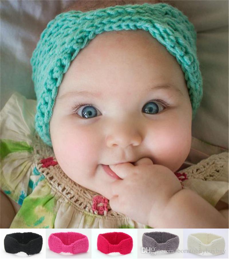 e21331867232 15inches Newborn Baby Infant Wool Crochet Warm Headbands Knitting ...