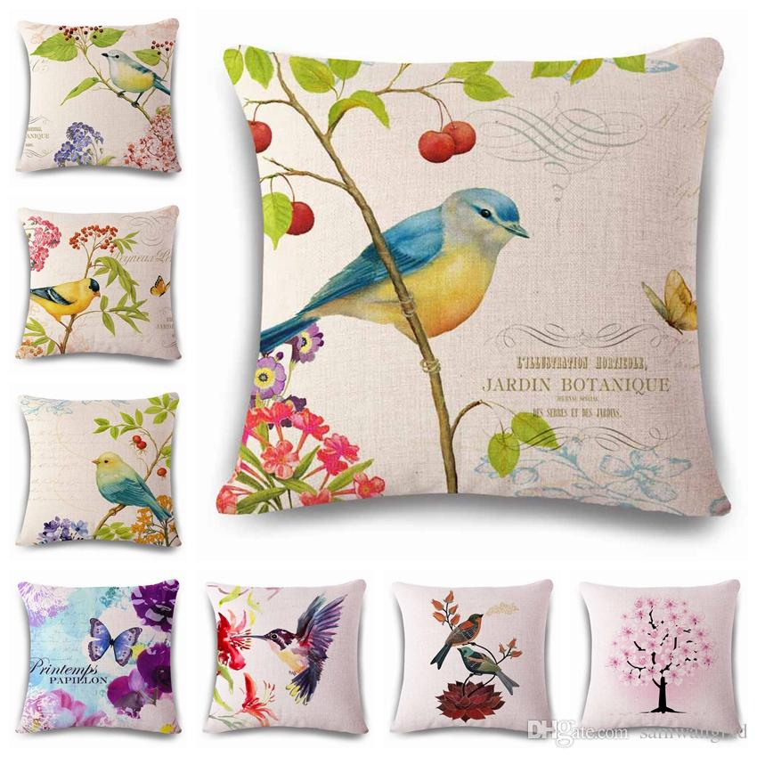 Flowers And Birds Scenery Decorative Cushion Covers Bright Colorful Interesting Decorative Throw Pillows With Birds