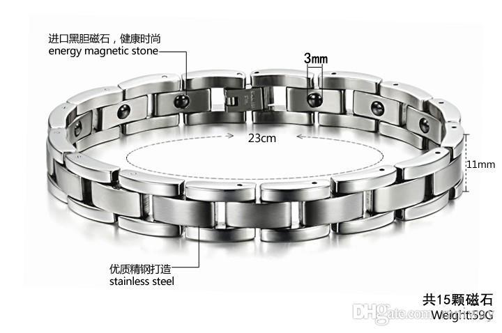 Fashion Men's Titanium Steel Magnetic Therapy Cuff Link Bracelet Chain Hemitate Energy Powerful Biker Mens Jewelry