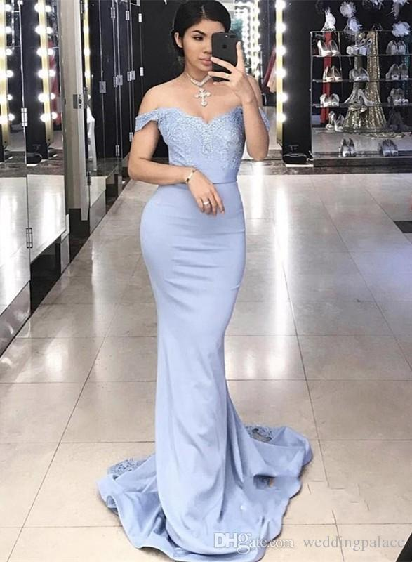 Amazing V-neck Mermaid Evening Dresses Light Blue Sweep Train Satin Formal Celebrity Evening Gowns Special Occasion Dresses Prom Dresses