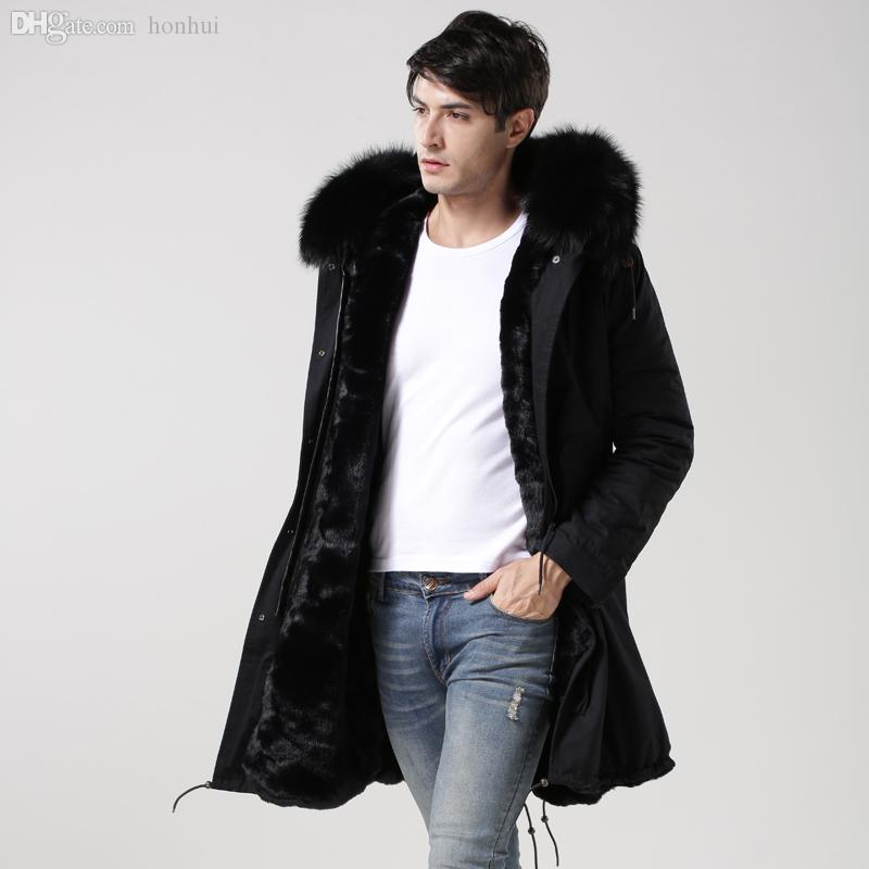 Black fur lined parka with faux leather sleeves